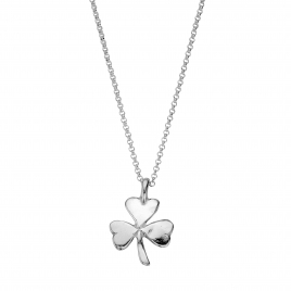 Silver Large Shamrock Necklace