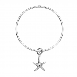Silver Medium Starfish Bangle