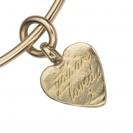 Gold Medium You Are Loved Bangle detailed