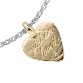 Silver & Gold Medium You Are Loved Chain Bracelet detailed