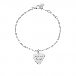 Silver Medium You Are Loved Chain Bracelet