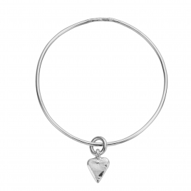 Silver Mini Heart Bangle