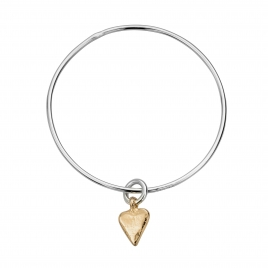 Silver & Gold Mini Heart Bangle