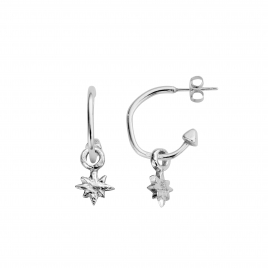 Mini Cupid Hoops With Baby North Star Charms detailed