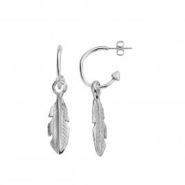 Mini Cupid Hoops With Medium Feather Charms detailed