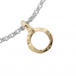 Silver & Gold Mini Open Circle Chain Bracelet detailed