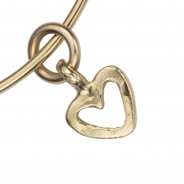 Gold Mini Open Heart Bangle detailed