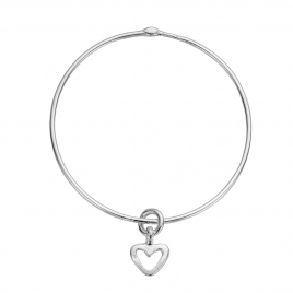 Silver Mini Open Heart Bangle