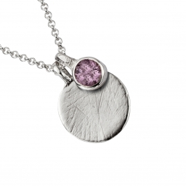 Silver Amethyst Moon & Stone Necklace detailed