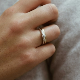 Silver Diamond Promise Ring detailed