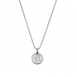 Silver Medium Roman Coin Snake Chain Necklace
