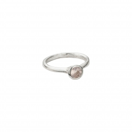 Silver Rose Quartz Baby Stone Ring