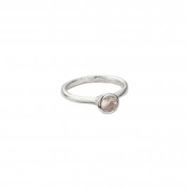 Silver Rose Quartz Baby Stone Ring