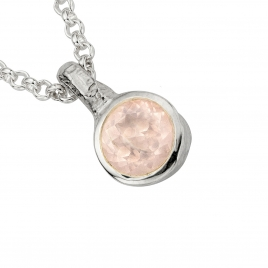 Silver Rose Quartz Baby Treasure Necklace detailed