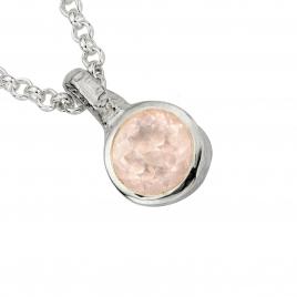Silver Rose Quartz Baby Treasure Necklace detailed