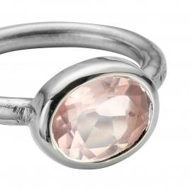 Silver Rose Quartz Baby Treasure Ring detailed