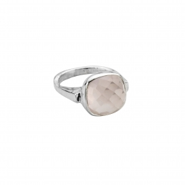 Silver Rose Quartz Crystal Ring