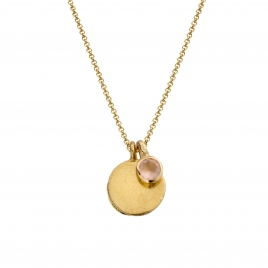 Gold Rose Quartz Moon & Stone Necklace