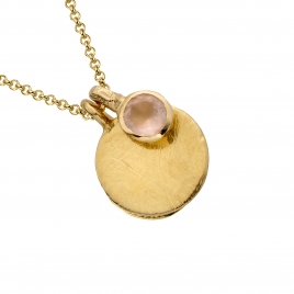 Gold Moon & Stone Rose Quartz Necklace detailed