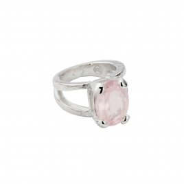 Silver Rose Quartz Maxi Claw Ring
