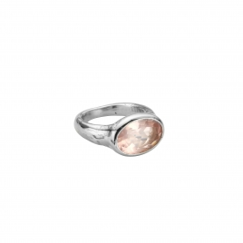 Silver Rose Quartz Treasure Ring
