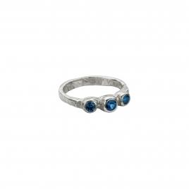 Silver Sapphire Trinity Ring