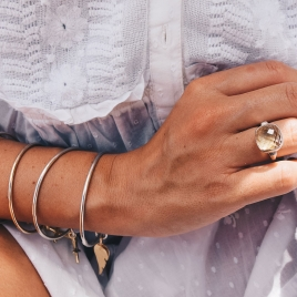 Silver & Gold Maxi Angel Wing Bangle detailed