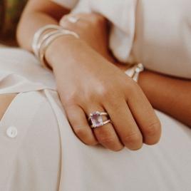 Silver Amethyst Maxi Claw Ring detailed