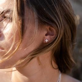 Silver Little Cross Ear Charm Set detailed