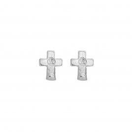 Silver Little Cross Ear Charm Set