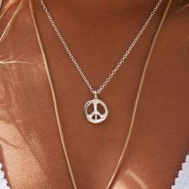 Silver Medium Peace Necklace detailed