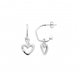 Mini Cupid Hoops With Mini Open Heart Charms detailed
