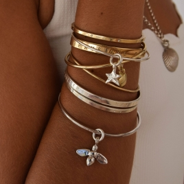 Silver Mini Star Bangle detailed
