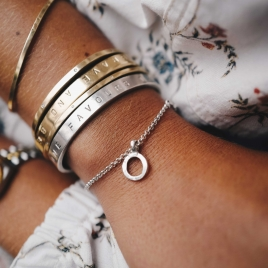 Silver Mini Open Circle Chain Bracelet detailed