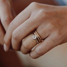 Silver Rose Quartz Baby Stone Ring detailed