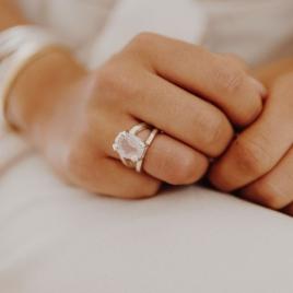 Silver Rose Quartz Maxi Claw Ring detailed