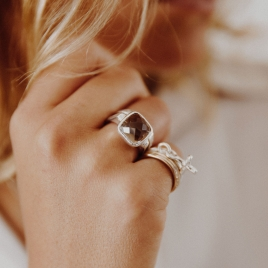 Silver Smoky Quartz Crystal Ring detailed