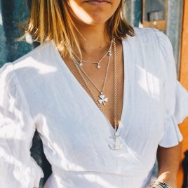 Silver Large Shamrock Necklace detailed