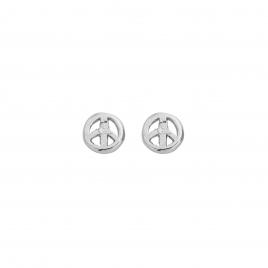 Silver Tiny Peace Ear Charm Set