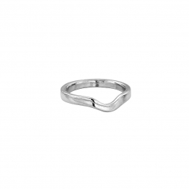 Silver Ladies Wave Wedding Band