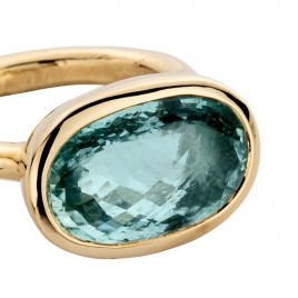 SKORPIOS Gold Aquamarine Ring detailed