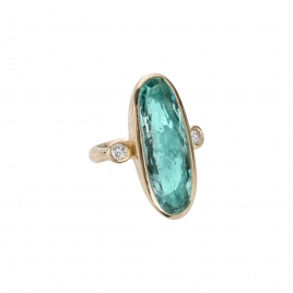 Gold EROS Aquamarine & Diamond Ring