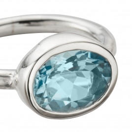 Silver Blue Topaz Baby Treasure Ring detailed