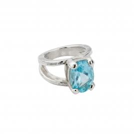 Silver Blue Topaz Maxi Claw Ring