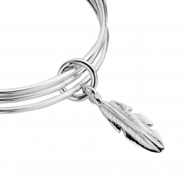 Silver Medium Feather Trio Bangles detailed