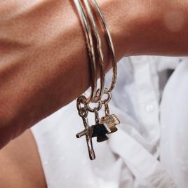 Silver & Gold Mini Angel Bangle detailed
