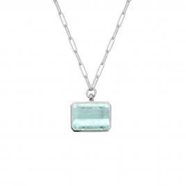 AALIYAH Silver Aquamarine Star Trace Chain Necklace