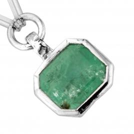 OLOMANA Silver Emerald Trace Chain Necklace detailed