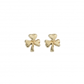 Gold Baby Shamrock Stud Earrings
