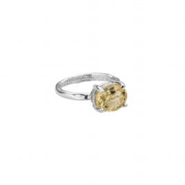 Silver Citrine Claw Ring